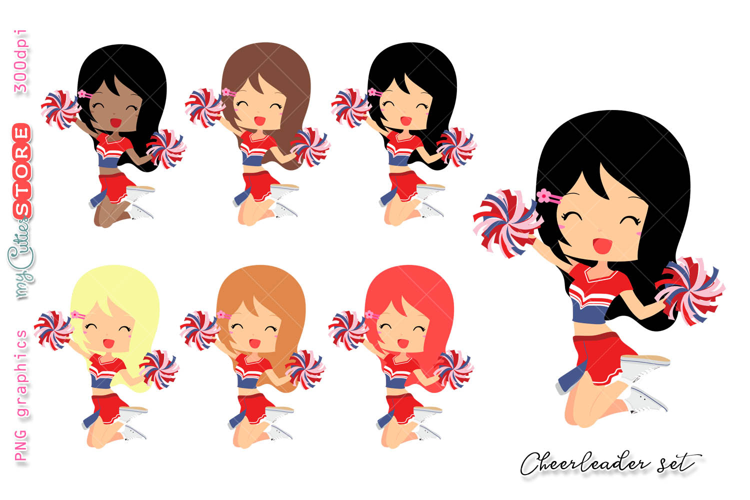 1500x1000 Cheerleader Girl Clipart, Cute Girls Cl Design Bundles