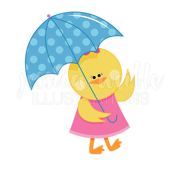 600x600 Chick With Umbrella Cute Digital Clipart Spring Rainy Day