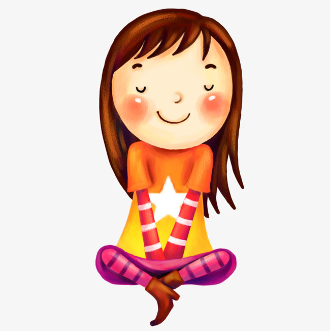 650x651 Cute Girl Sitting, Star, Long Hair, Girls Png Image And Clipart