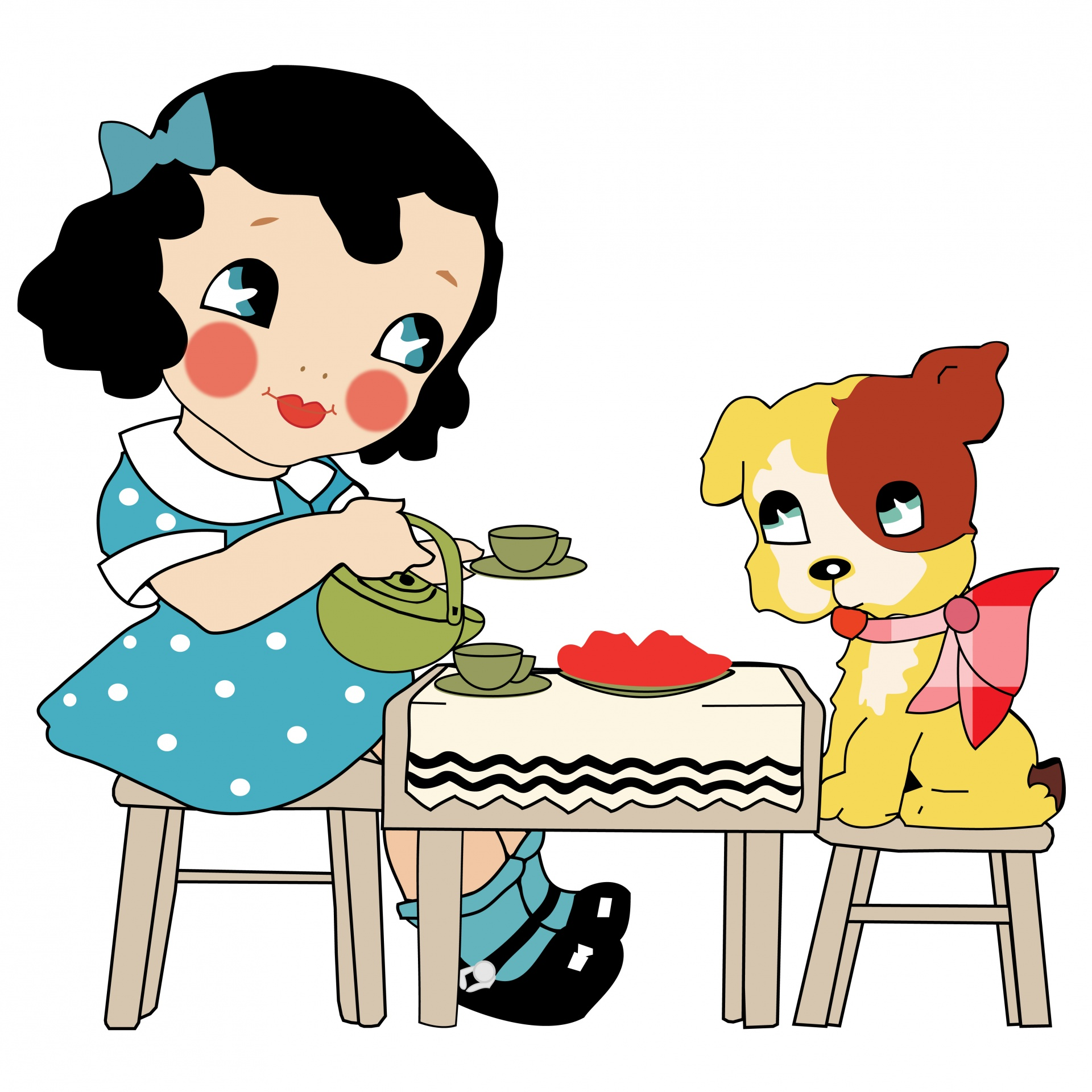 1920x1920 Cute Girl Amp Dog Clipart Free Stock Photo