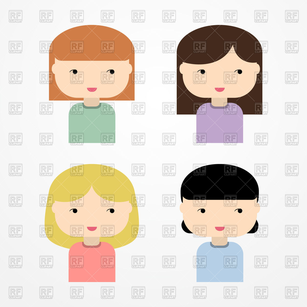 1200x1200 Cute Girl Avatars Free Download Vector Clip Art Image
