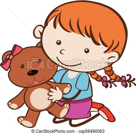 450x445 Cute Girl Hugging Brown Teddybear Illustration Clip Art Vector