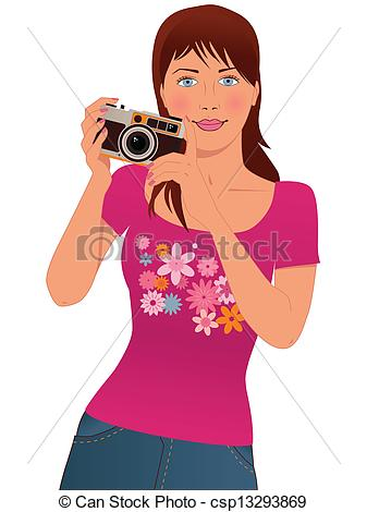 337x470 Cute Girl Photographer. Young Woman Taking Pictures With A Clip