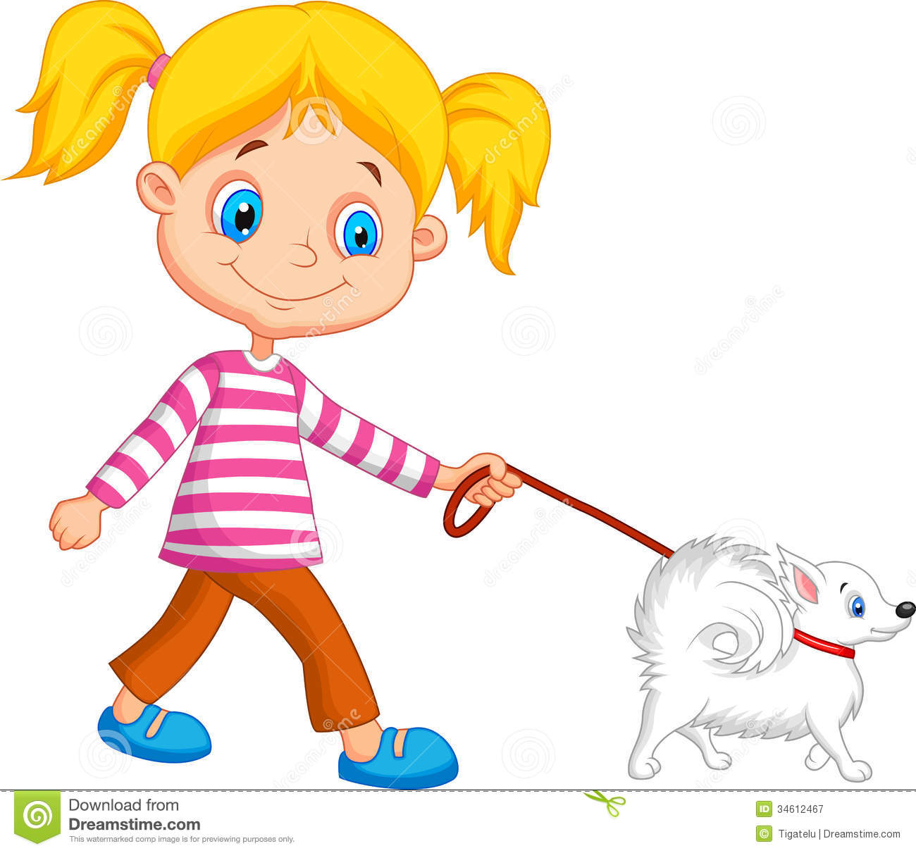 1300x1211 Little Girl Clipart Walking Dog
