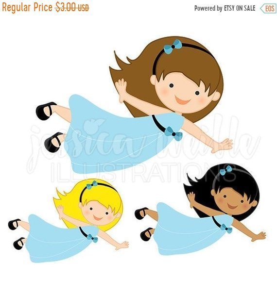 570x604 On Sale Flying Girl In Blue Dress Cute Digital Clipart, Cute