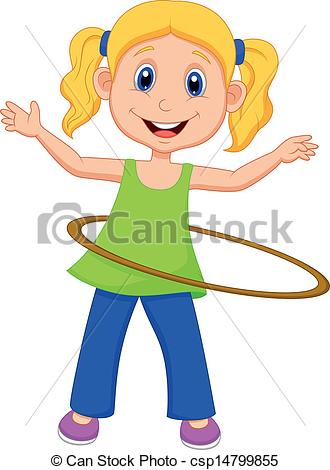 330x470 Vector Illustration Of Cute Girl Twirling Hula Hoop Clipart Vector