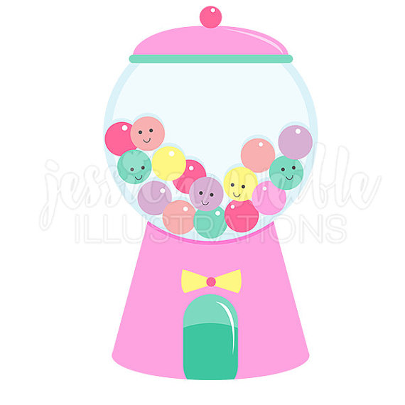 570x570 Girly Gumball Machine Cute Digital Clipart, Gumball Clip art