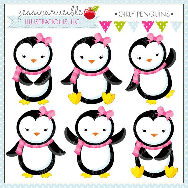 600x600 Girly Penguins Cute Digital Clipart Commercial Use OK