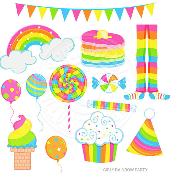570x570 Girly Rainbow Party Cute Digital Clipart Rainbow Clip art
