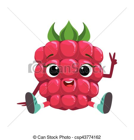 450x470 Big eyed cute girly raspberry character sitting, emoji clip art