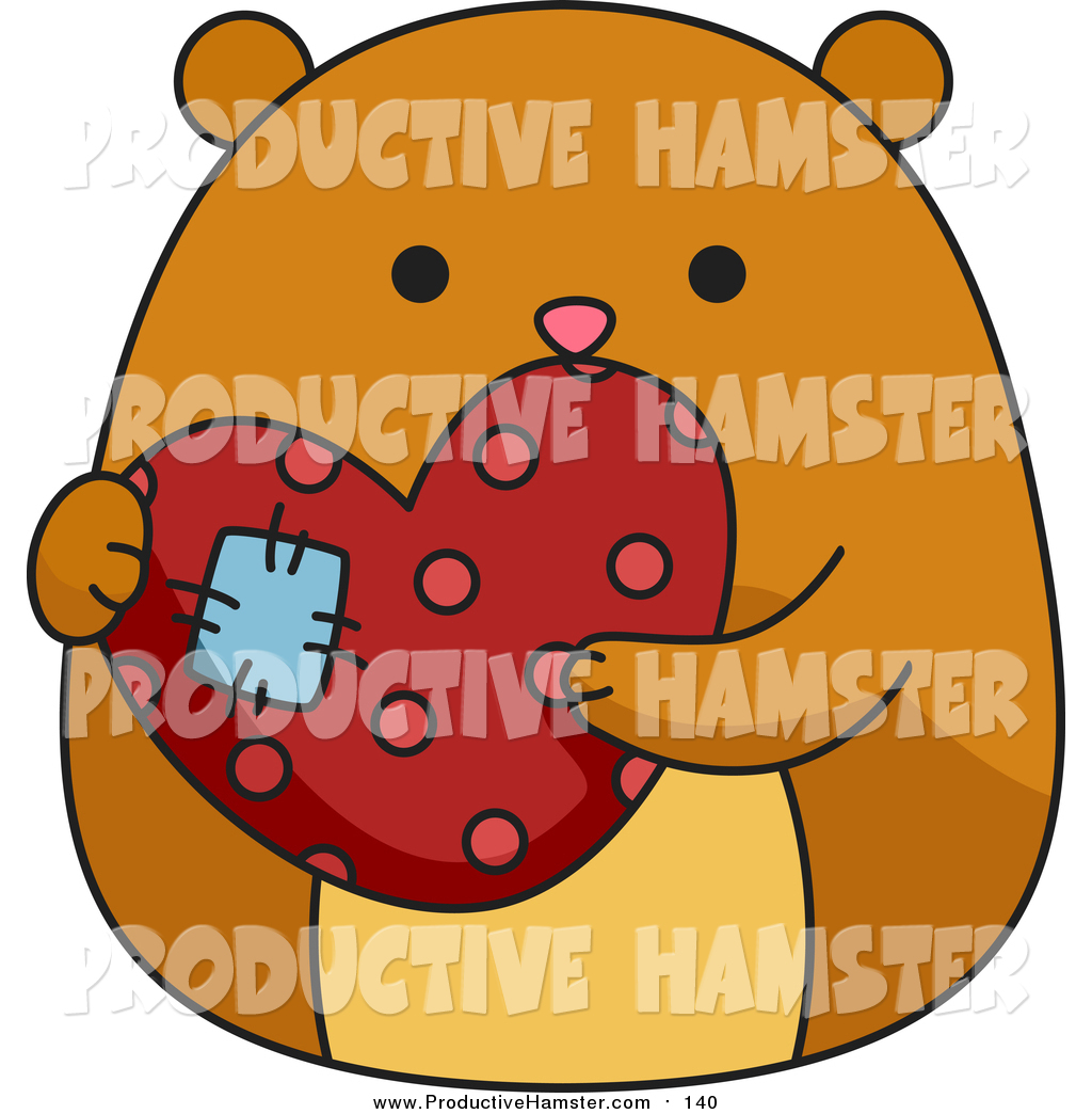 1024x1044 Clip Art Of A Cute Brown Hamster Holding A Patched Heart By Bnp