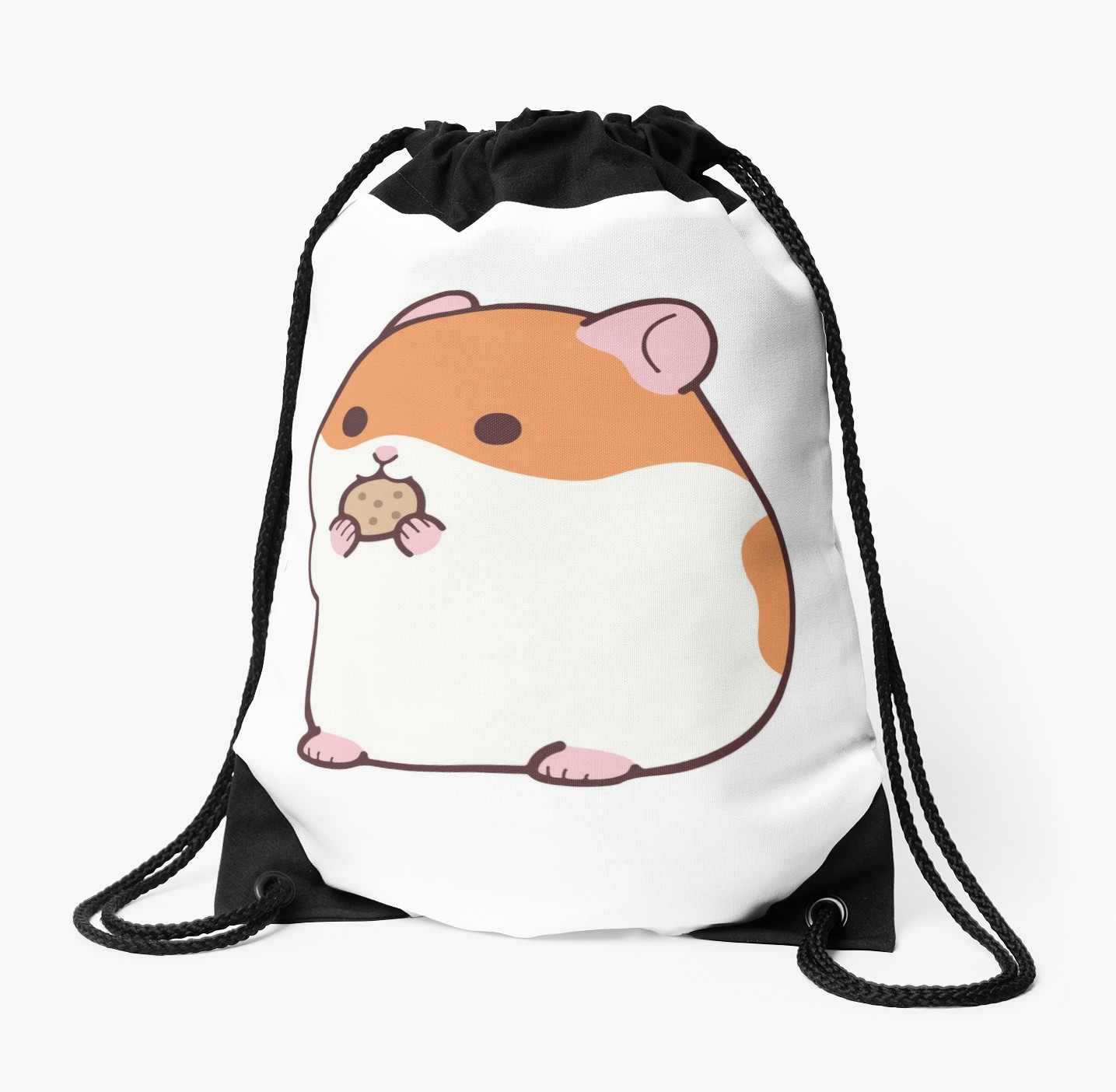 1435x1404 Cute Hamster Emoji Funny Novelty Tee Drawstring Bags By