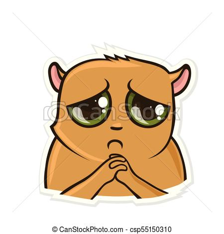 450x470 Sticker For Messenger With Funny Animal. Sad Hamster. Vector