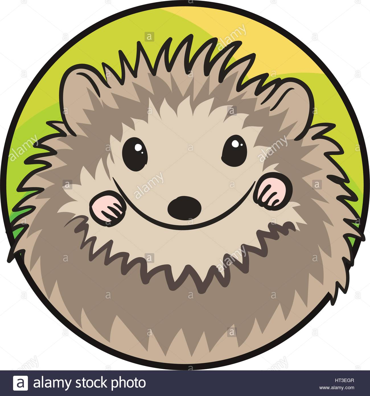 1300x1390 Cute Hedgehog With Spiny Coat In Circle, A Badge. Animal Art