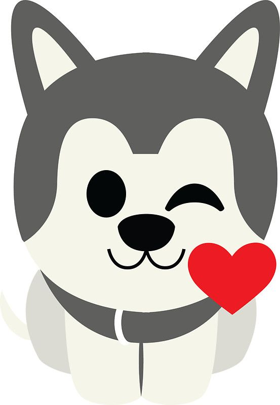 553x800 Siberian Husky Emoji Flirting And Blowing Kiss' Sticker By