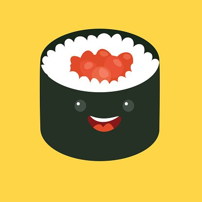 416x416 Fun Sushi Vector Cartoon Cute Sushi Japanese Food Premium Clipart