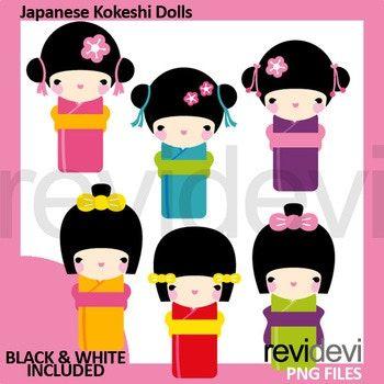 350x350 Japanese Girls Clip Art, Kokeshi Dolls Clipart Girls Clips