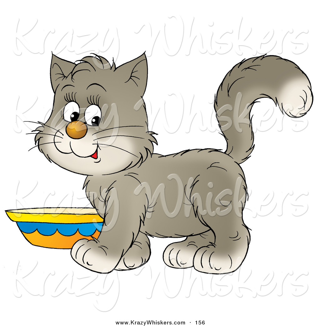 1024x1044 Critter Clipart Of Sweet Graynd White Kitten Standing By