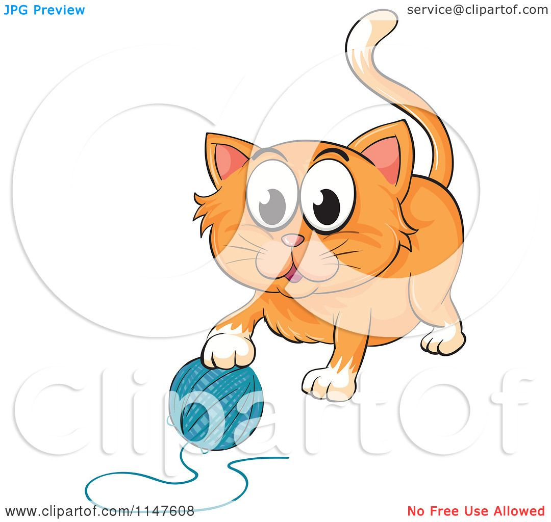 1080x1024 Cartoon Of A Cute Kitten Playing With A Ball Of Yarn