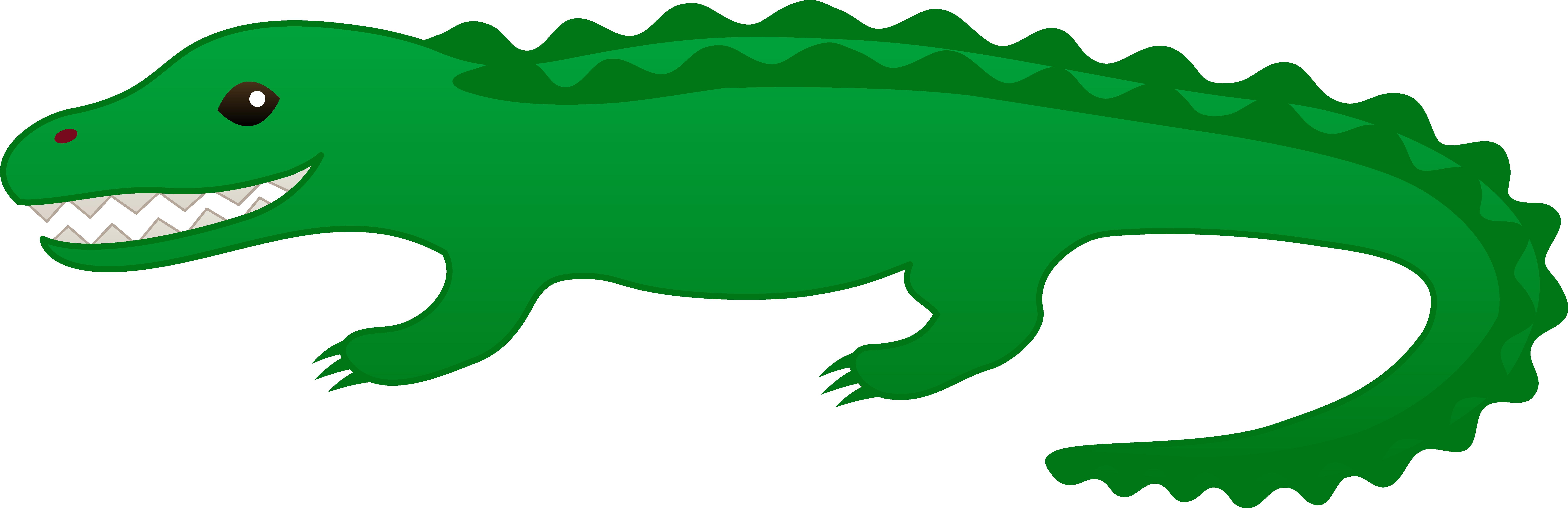 8491x2753 Cute Green Alligator Clip Art Free