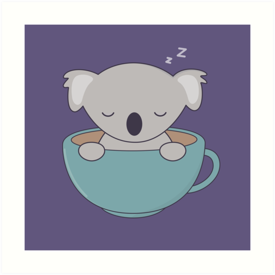 550x550 Kawaii Cute Koala Bear With Coffee Art Prints By Wordsberry