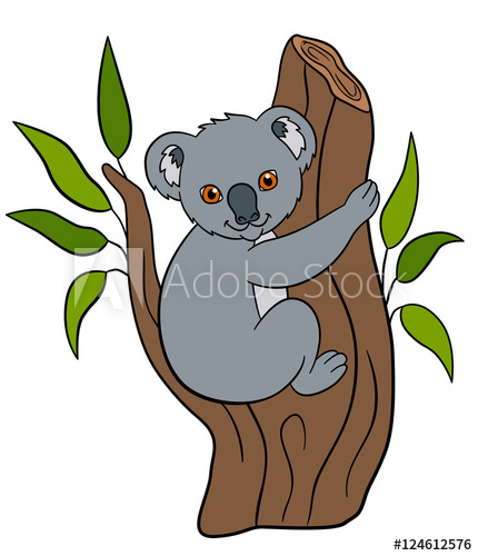 430x500 Cartoon Animals. Little Cute Baby Koala Smiles.