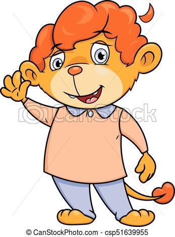 347x470 Little Lion Waving Hand. Illustration Of The Cute Little