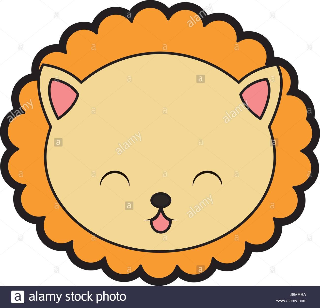 1300x1255 cute lion face cartoon Stock Vector Art amp Illustration, Vector