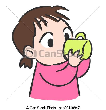 450x470 Cute Little Girl Drinking Water From Glass,isolate Vector Eps