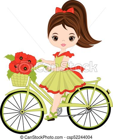 379x470 Vector Cute Little Girl Riding Bicycle. Vector Bicycle