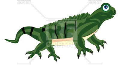 400x218 Cute cartoon iguana (lizard) Royalty Free Vector Clip Art Image