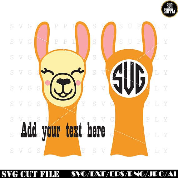 570x570 Llama Face Svg, Llama Monogram Svg, Cute Llama Svg Cut File Vinyl
