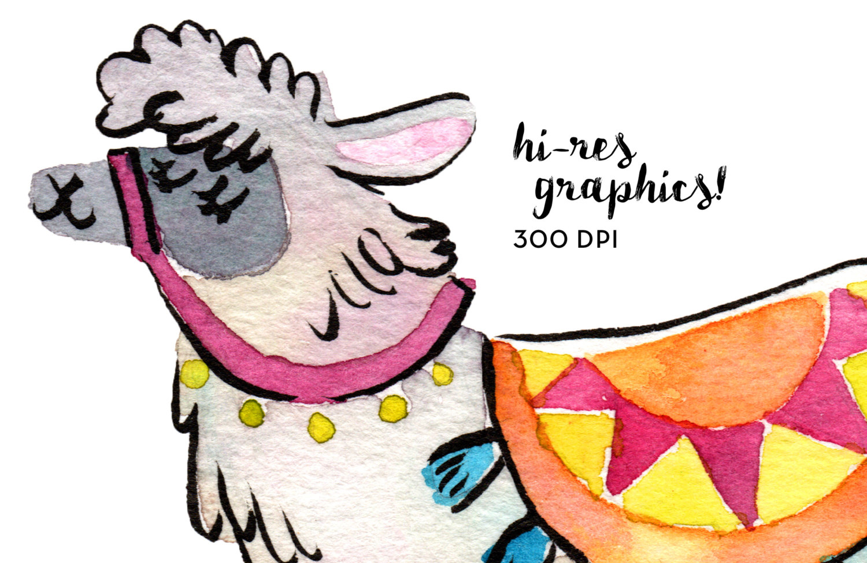 1500x975 Watercolor Llama Clipart