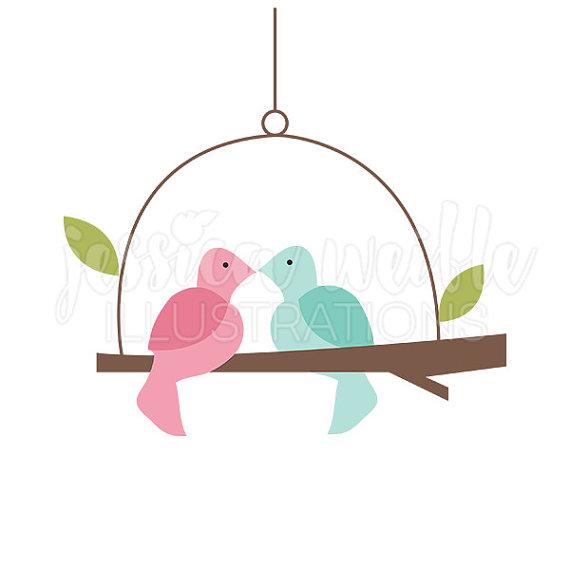570x570 Love Bird Swing Cute Digital Clipart, Cute Bird Clip Art, Bird