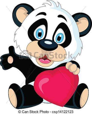 379x470 Vector Illustration Of Cute Baby Panda Holding Love Heart.
