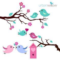 236x236 Baby Birds Digital Clip Art Set, Cute Love Birds On Tree Branch
