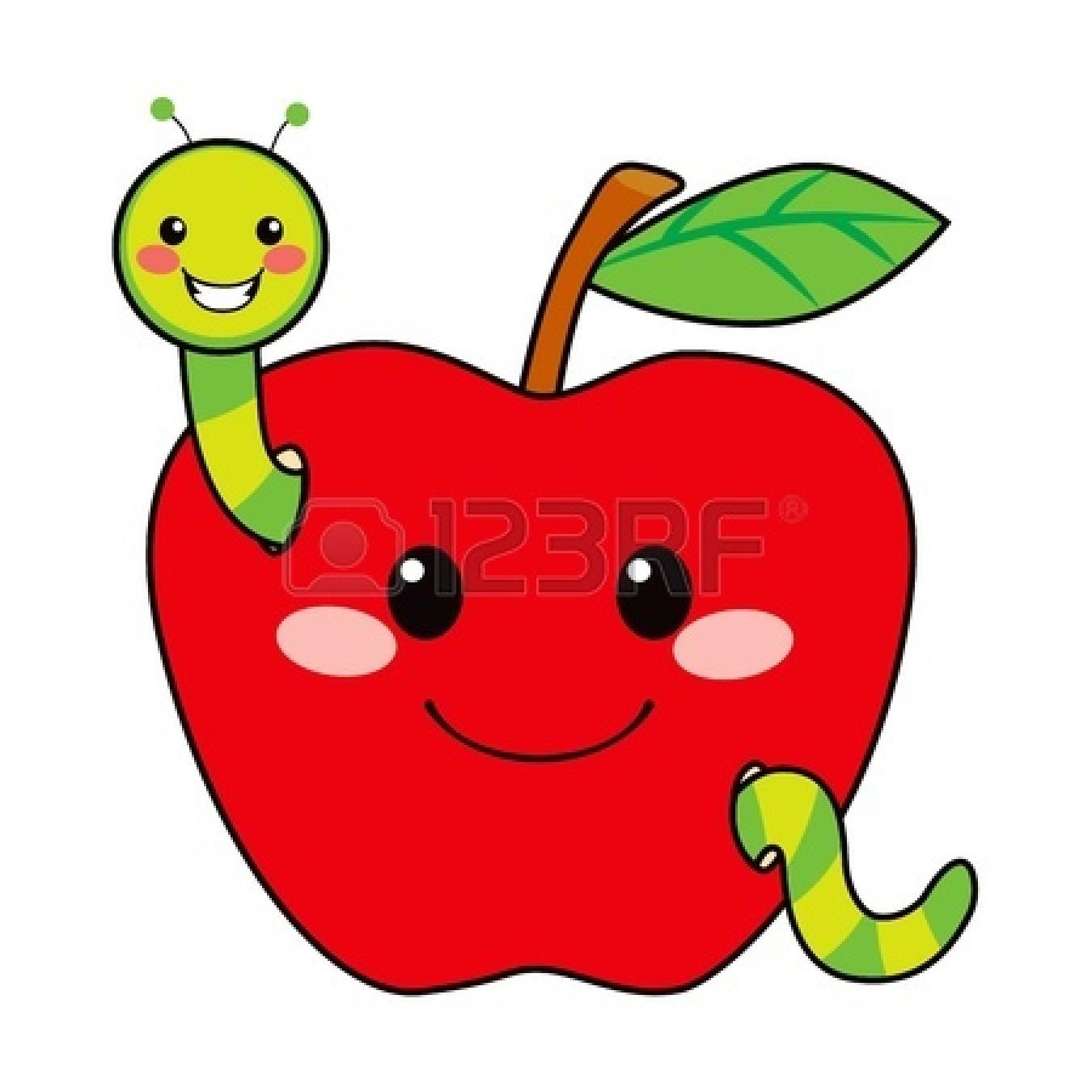 1350x1350 Bitten Green Apple Clipart 14576741 Cute Worm Happy In Love