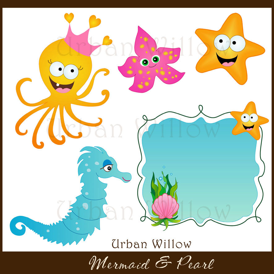 886x886 Mermaid Clipart, Seahorse Digital Clipart, Graphics Starfish, Cute