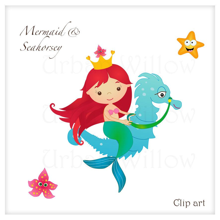 886x886 Mermaid Clipart Cute Mermaid Riding A Seahorse By Urbanwillow