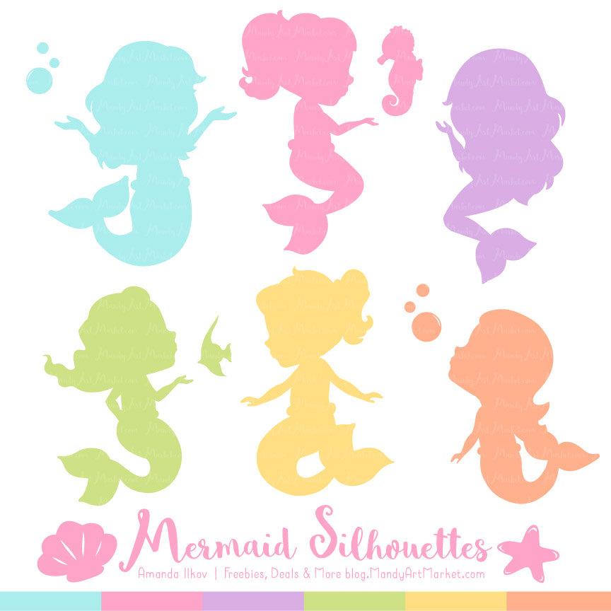 864x864 Professional Mermaid Silhouettes Clipart In Fresh Girl