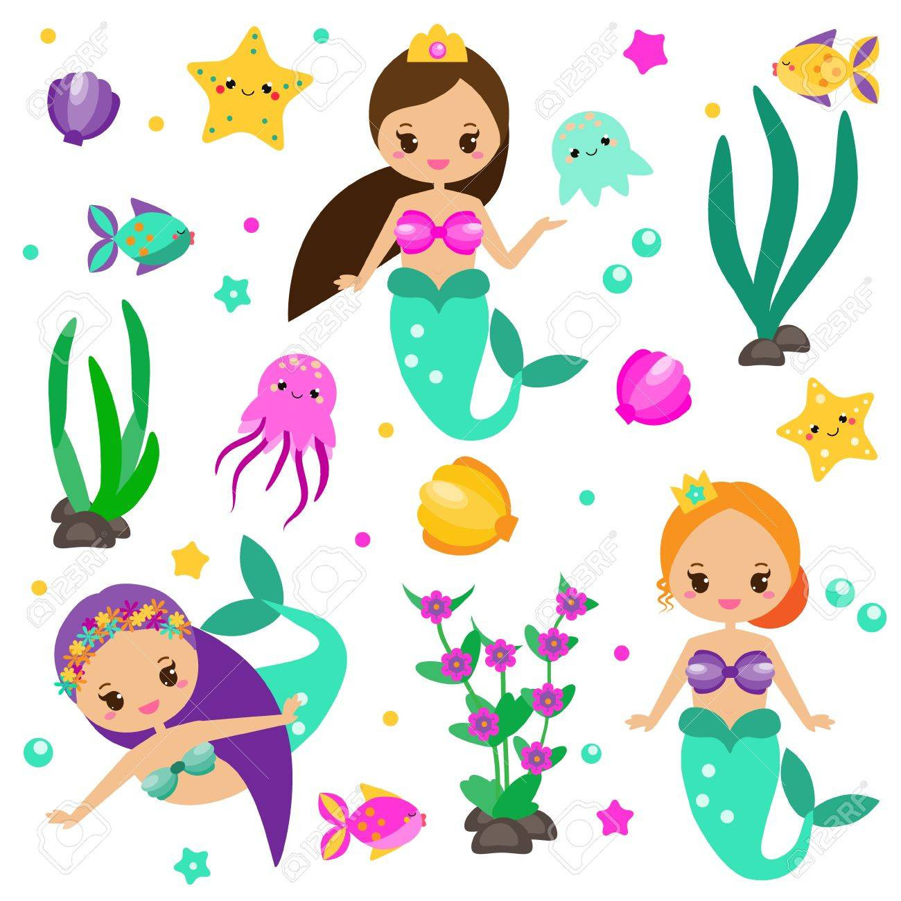 1300x1300 Children Princess Party Design Elements Stickers Clip Art