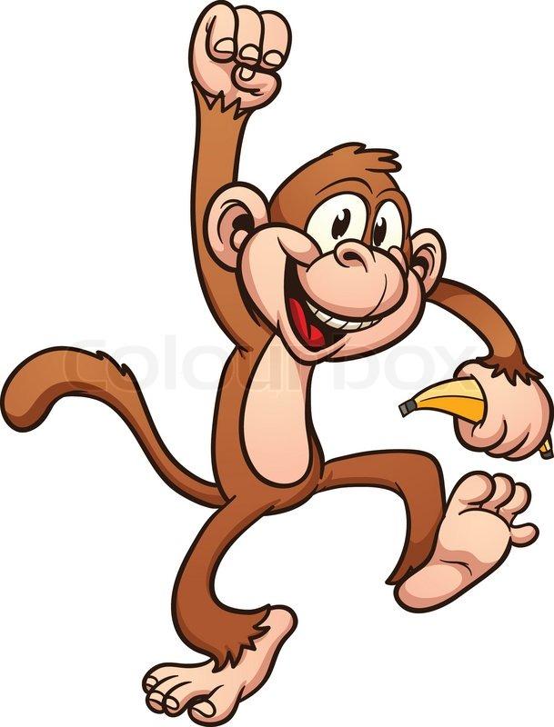 609x800 Cute Cartoon Monkey. Vector Clip Art Illustration With Simple