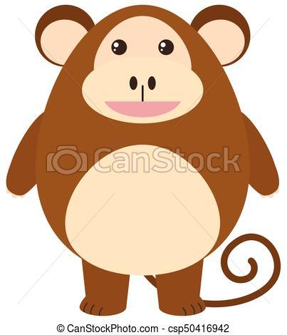 403x470 Cute Monkey On White Background Illustration.