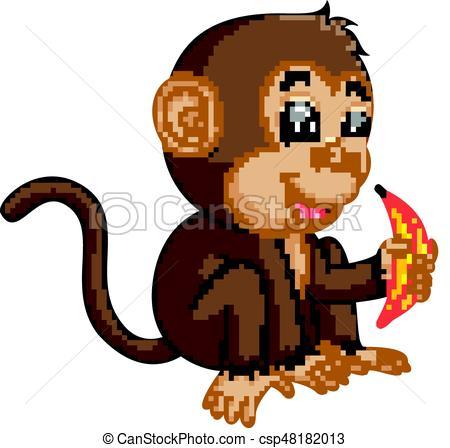 450x448 Illustration Of Cute Monkey Cartoon Eating Banana Vector Clip Art