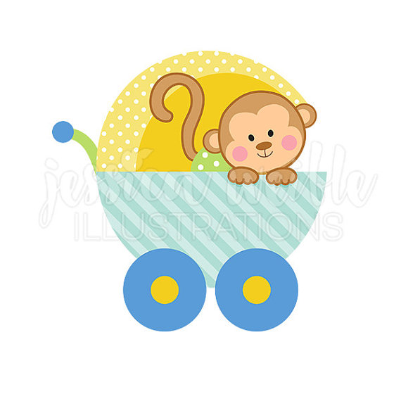 570x570 Baby Monkey Clipart Ba Boy Monkey Carriage Cute Digital Clipart