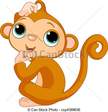 450x465 Thinking Monkey. Cute Little Monkey Scratching His Head Clip Art