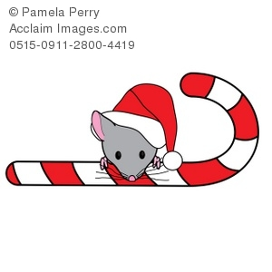 300x300 Clip Art Illustration Of A Christmas Mouse Peeking Over A Candy Cane