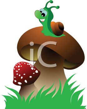 279x350 Cartoon Clip Art Illustration Of A Snail Sitting On A Mushroom