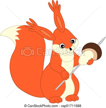 450x460 Vector Cute Cartoon Squirrel With Mushroom. Vector Squirrel