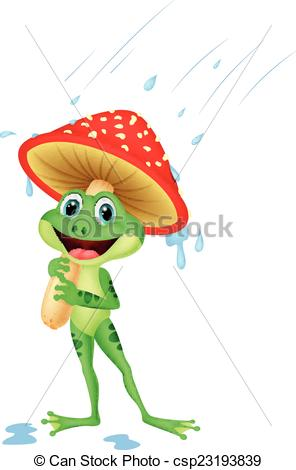 296x470 Vector Illustration Of Cute Frog Cartoon Wearing Rain Gear Under